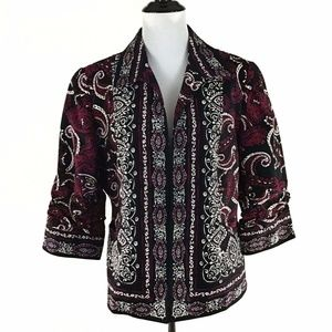 Coldwater Creek Paisley Ruched Sleeve Jacket 14P